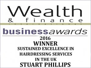 Winning 'Sustained Excellence in Hairdressing Services 2016' in the UK