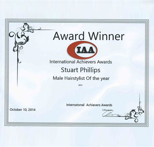 "Stuart Phillips – Winner of the ""Best Male Hairstylist in the UK 2014"""