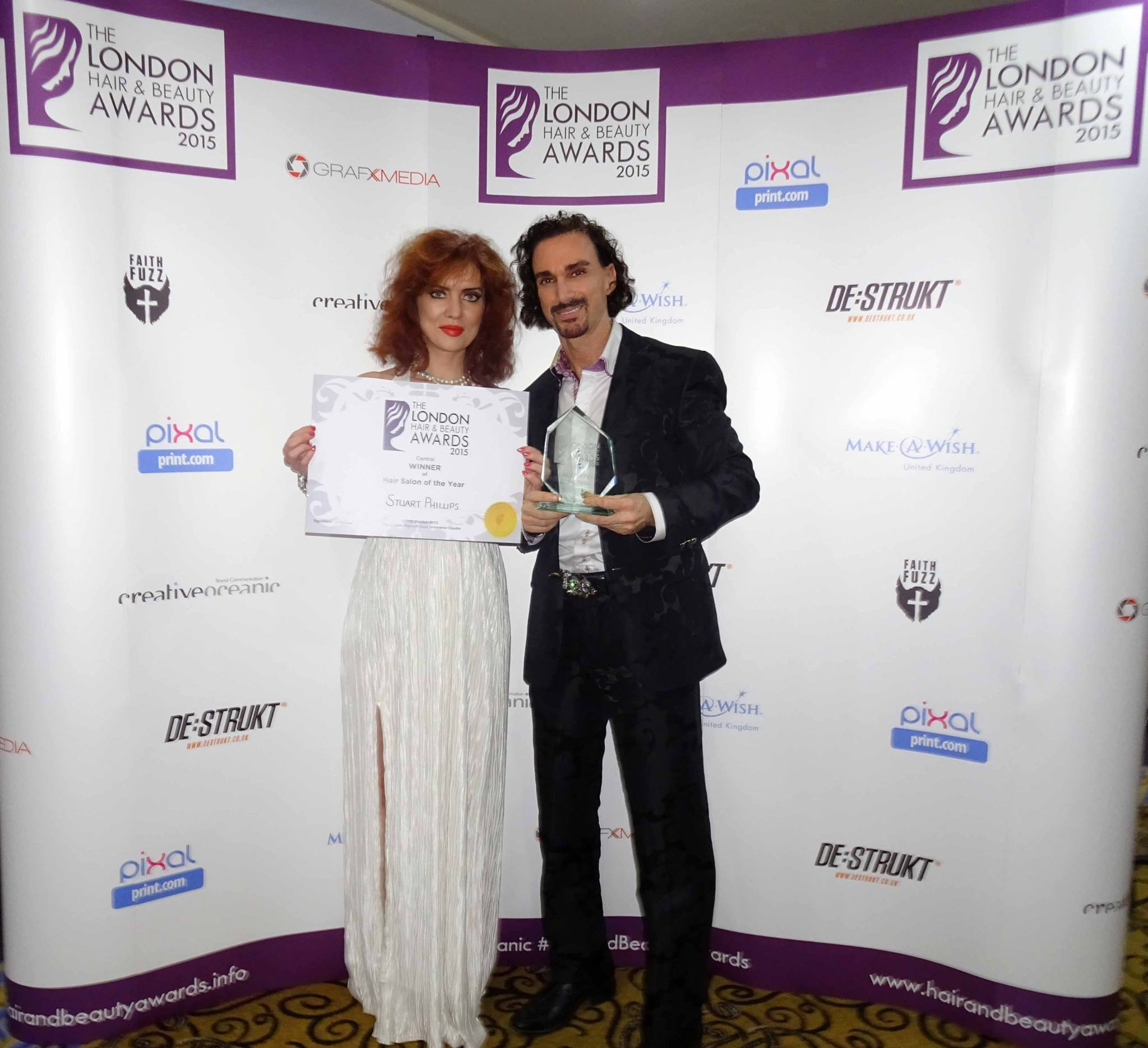 Won the award of best salon in London 2015 (1)Angel and me holding up both the awards, a proud moment!