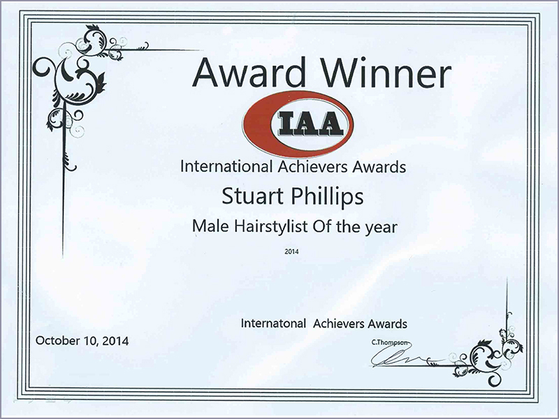 WINNER OF THE 'BEST MALE HAIRSTYLIST' AT THE INTERNATIONAL ACHIEVERS AWARDS 2014
