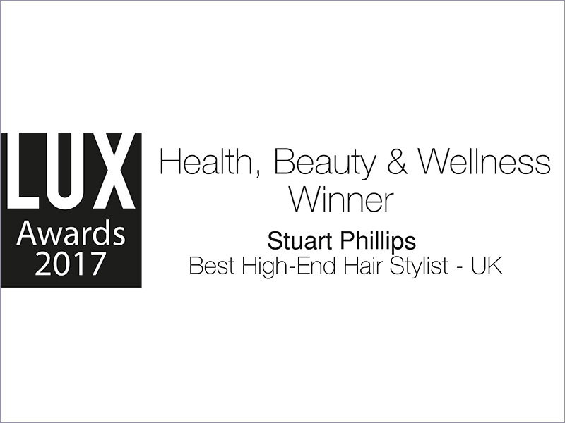 "WINNER OF THE ""BEST HIGH-END HAIR STYLIST - UK"" AT THE LUX 2017 AWARDS"
