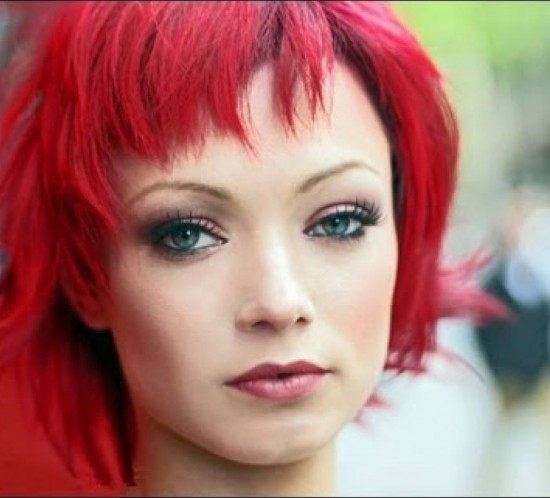 Long To Short Hair Makeovers - Bright Red Hair - How To Cut Choppy Layers & Bangs