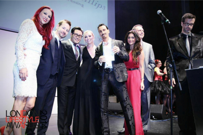 "The very proud Stuart Phillips team receiving the award for ""Best London Salon of 2014"""
