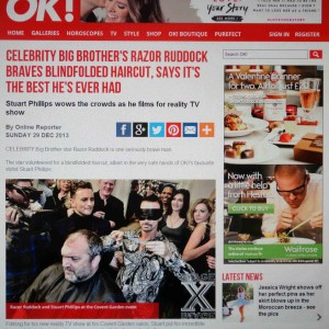 Razor Ruddocks Blindfolded Haircut In OK Magazine