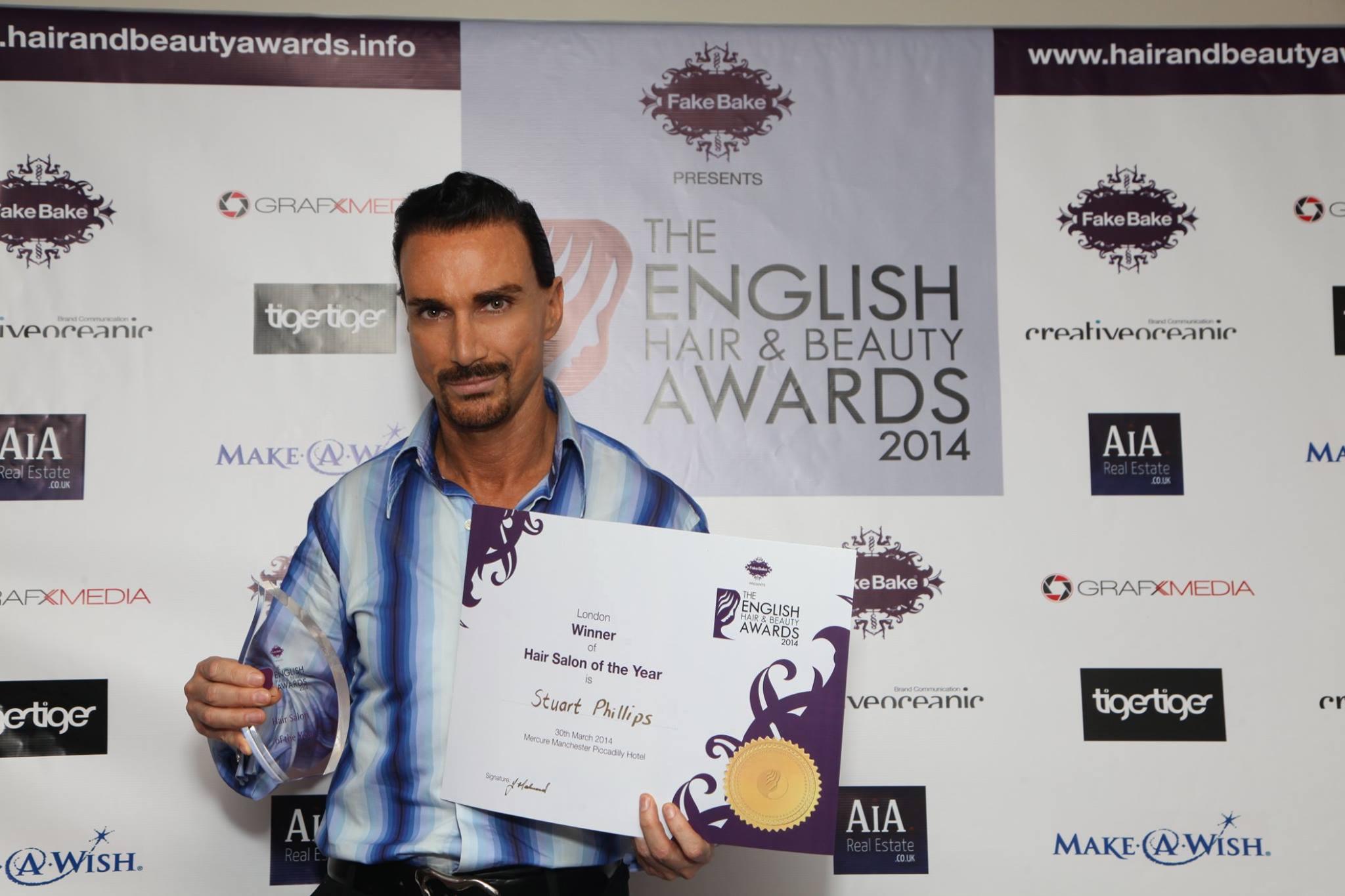 "Stuart Phillips - Winner of the ""Best Salon in London & Overall Winner in the UK"" at the English Hair & Beauty Awards 2014"