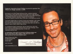 "Celebrity Hairstylist Stuart Phillips is proud to sponsor the ""Whats on Stage"" awards"