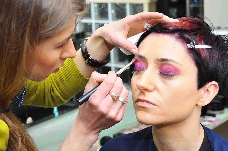 The main focus of Anna's make-up was on the eyes, there were many colours used in order to achieve a strong look.