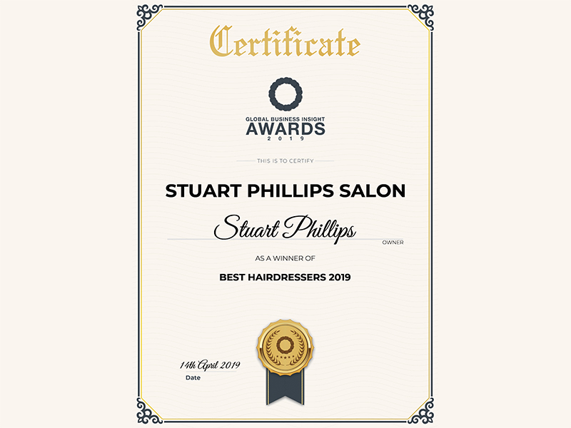 WINNER OF 'BEST HAIRDRESSERS 2019' AT THE GLOBAL BUSINESS INSIGHT AWARDS 2019